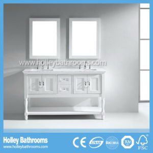 Deluxe Hollow Bathroom Storage with 2 Mirrors and 2 Basins (BV184W)
