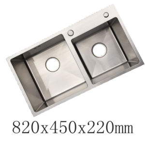 High Quality Handmade Double Bowl Stainless Steel Kitchen Sink (YX8245)