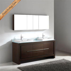 Fed-1088 Walnut Finishing Wooden Veneer Double Sinks Wooden Bathroom Vanity Bathroom Cabinets pictures & photos
