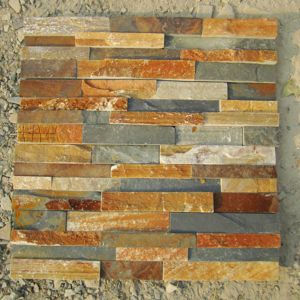 Beige Wood Color Stacked Panel Slate Tile for Wall Cladding pictures & photos