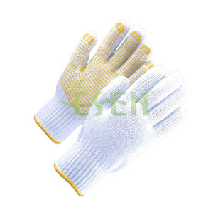 PVC Dotted Gloves, Points Cotton Gloves Plastic Anti-Skid Gloves Protective Work Gloves pictures & photos