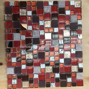 Modern Style Red Glass and Marble Mosaic Tile for Wall Decoration pictures & photos