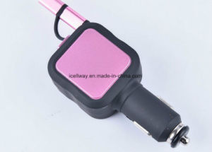 Retractable Cable with 2 in 1 USB Output Micro USB and Lightning Car Charger pictures & photos