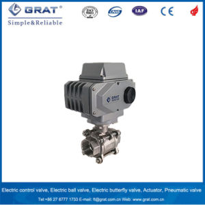 Stainless Steel PTFE Seal Motorized Valve with Screw Joint pictures & photos