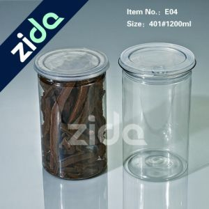 Pet Food Grade Clear Cylinder Plastic Candy Jar with Aluminium Lid pictures & photos