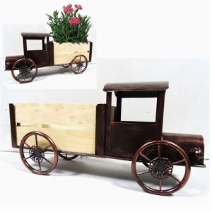 Metal Garden Decoration Clean White Tricycle Wooden Carriage Flowerpot Craft pictures & photos