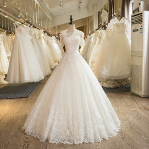 Charming A-Line Short Sleeve Tulle Lace Appliques Wedding Dress Alsw1701 pictures & photos