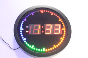 Electric LED Display Time Colorful Wall Clock pictures & photos