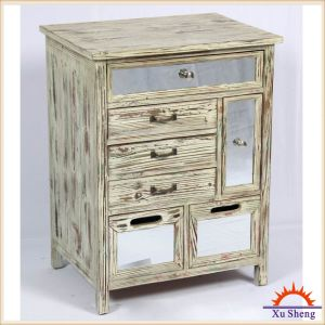 Home Furniture French Style Antique Wooden Mirror Storage Cabinet in Drift Wood Color pictures & photos