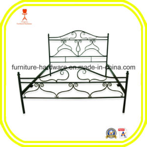 Queen Size Antique Metal Bed Frame with Posture Slats Black pictures & photos