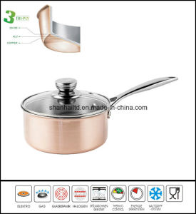 Cookware Kitchenware Tri-Ply Body Copper Saucepan pictures & photos
