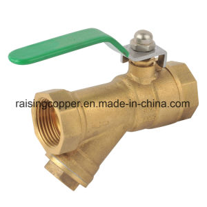 Brass Strainer Ball Valve with Butterfly Handle pictures & photos