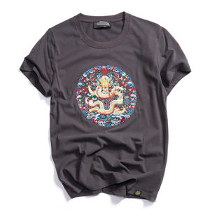 Customize High Quality Cotton Chinese Style Embroidery Man′s T Shirt of Round Neck pictures & photos