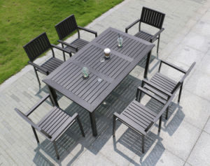 Aluminum Plastic Wood Chair Table Outdoor Patio Furniture Dining Set (J803) pictures & photos
