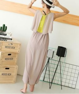 Colour Matching Chiffon Sleeveless Round Neck Tiered Ladies Dress pictures & photos