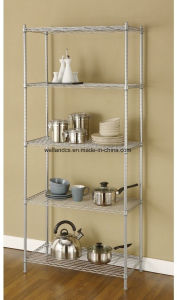 Silver Grey Home Indoor Metal Wire Shelving Rack Organizers pictures & photos