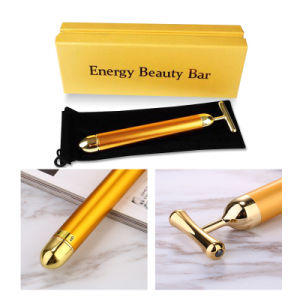 Beauty Bar Energy Vibration 24K Gold Pulse Firming Face Lifting Massager Facial Roller Massage Facial Body Massage pictures & photos