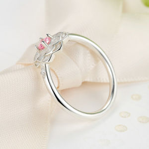 New Fashion Women 925 Silver Jewelry Pink Diamond Flower Wholesale Ring pictures & photos