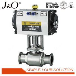 Sanitary Stainless Steel Butt Weld Ball Valve with Pneumatic Actuator pictures & photos