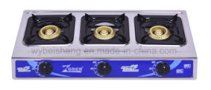 Big Three Burners Gas Stove, Blue Fire, Stainless Steel Panel pictures & photos