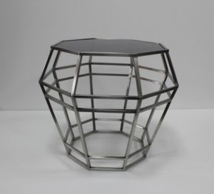 Polygon Stainless Steel with Black Tempered Glass Top Coffee Table D-75 pictures & photos