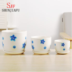 Ceramic Flowerpot Round Shape Set of 3 pictures & photos