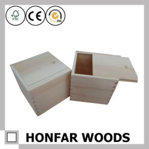 Unfinished Raw Wooden Box Wooden Packaging Box with Slide Top pictures & photos