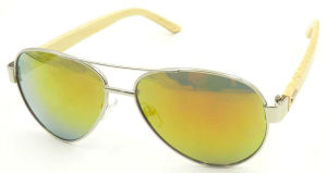 FM17130 Wholesale Good Quality Metal Sunglass with Bamboo Arms pictures & photos