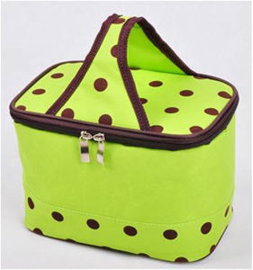 Korean Lunch Box Shape Green Spot Insulated Ice Cooler Bags pictures & photos