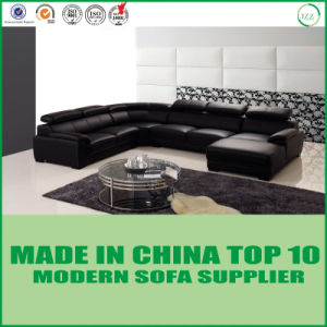 Home Furniture U Shape Leather Wooden Corner Sofa pictures & photos