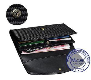 Fresh Classic Fashion Carbon Fiber Human Leather Wallet for Girls pictures & photos