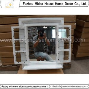 Window Shutter Design Carved Antique White Wooden Mirror Frame (in stock)