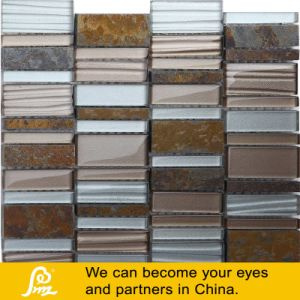 Rectangle Stone Mix Glass Mosaic in White Blue Yellow Brown pictures & photos