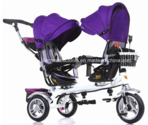 Double Two Seat Kids Children Baby Tricycle for Twins pictures & photos