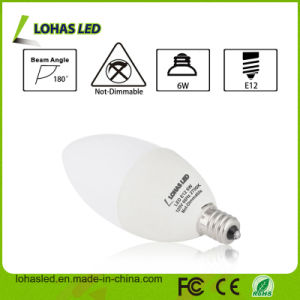 E12 6W 120V 180 Degree Warm White 60 Watt Equivalent LED Candle Light Bulb pictures & photos