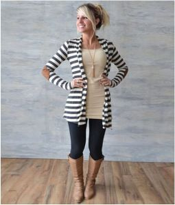 Women Inerratic Striped Loose Sweater Coat Outwear Blouse Cardigan pictures & photos