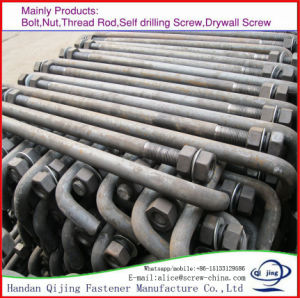 Foundation Bolt, Ordered by Customer, Holding Down Bolt, Anchor Bolt, J Type Anchor Bolt with Absolute Making L Bolt pictures & photos