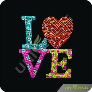 Love Heart Neon Stud/ Rhinestone Transfers Hotfix