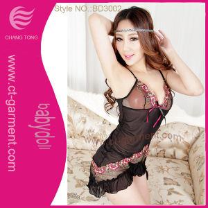 Transparent Female Sexy Lingerie/Ladies Mini Babydoll Black (BD3002) pictures & photos
