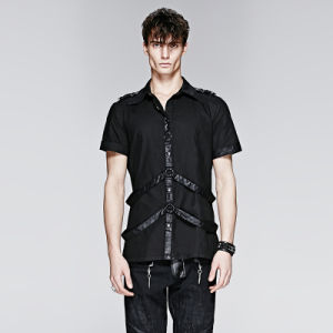 Punk Man Short Shirt with Leather Loops (Y-575) pictures & photos