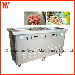 Double Pan Fried Ice Cream Rolled Machine with 6 Buckets pictures & photos