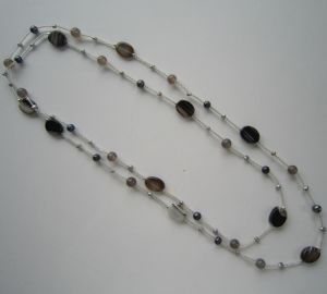 Daking Hand Knotted Cord Necklace with Freshwater Pearl and Stone pictures & photos