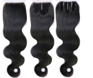 Free Shipping 6A Brazilian Lace Closure, Unprocessed Virgin Hair, Body Wave, Bleached Knots, Middle, 3 Way, Free Part 3 Options pictures & photos