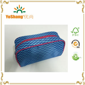 Fashion Blue Stripe Microfiber Cosmetic Bag with Full Printing pictures & photos