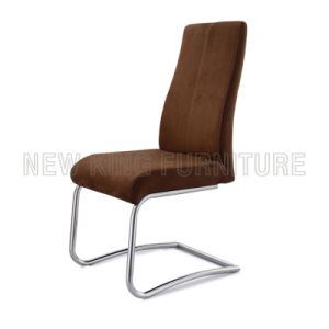 Modern Luxurious Chrome Steel Foot PU Leather Dining Chair (NK-DC040) pictures & photos