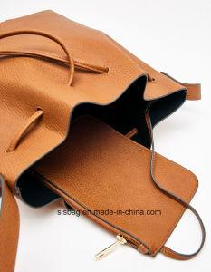 Fashion PU Tan Color Drawstring Tote Bag Women Handbag pictures & photos