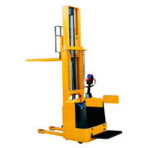 Full Battery Operated Pallet Forklift Stacker with Stand on Platform pictures & photos