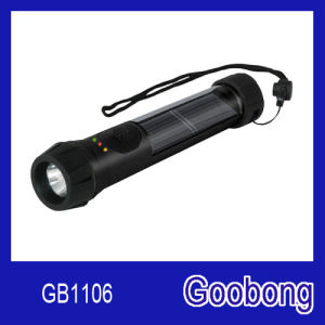 LED Solar Flashlight with Backup Battery and Indicator Light