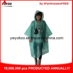 Green PE Rain Poncho with Logo Printing (YB-1063-1)