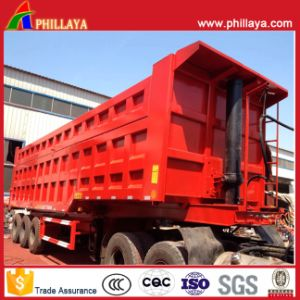 Rear Tipper Tipping Truck Semi Trailer Hydraulic Lifting End Dumper pictures & photos